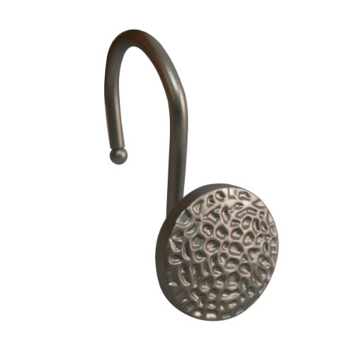 Elegant Home Fashions Round with Hammered Surface Look Shower Hooks, Satin Nickel ()