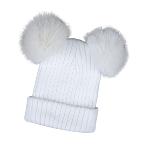 Winter Hat, ღ Ninasill ღ Exclusive Warm Hats Crochet Knit Hairball Beanie Cap (White) - Exclusive Crochet