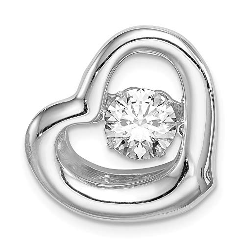 - Sterling Silver Platinum-plate Swar Zirconia Vibrant CZ Heart Pendant