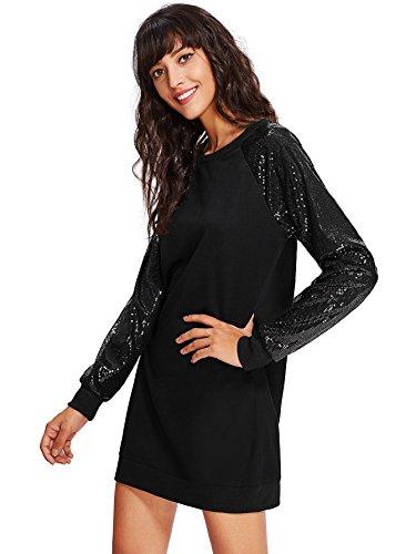 Verdusa Women's Pullover Sequin Long Sleeve Stretch Tunic Sweatshirt Dress Black XL