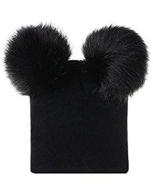 Baby Kids Winter Fur Double Ball Knitted Hat Pompom Beanies Hats for Children