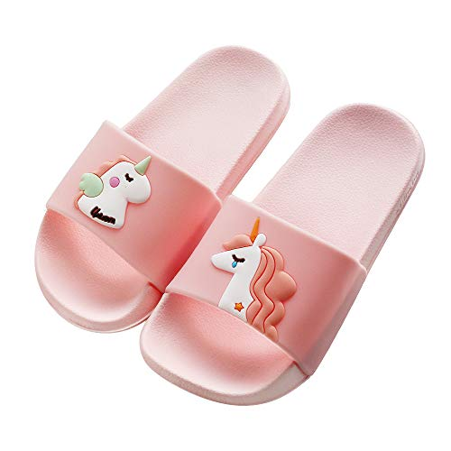 Kids Unicorn Slide Sandals Non-Slip Summer Beach Water Shoes Boys Girls Shower Pool Slippers(Toddler/Little Kids) (1.5 M US Little Kid, Pink-A)