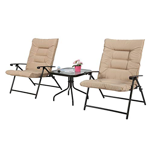 Iwicker Patio 3 PCS Steel Padded Folding Chair Set, Tempered Glass Table Top and Adjustable Reclined Seat Beige