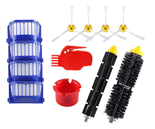 Replacement Parts for iRobot Roomba 600 Series 595 614 620 630 650 652 660 680 690 Robotic Vacuum Cleaner (4 Side Brushes, 4 Hepa Filters,1 Flexible Beater Brush,1 Bristle Brush)