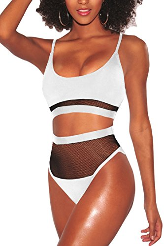 LaSuiveur Women's Sexy Wire Free Strappy Push Up Lined Two Piece Bikini Swimsuit (L, Mesh White)