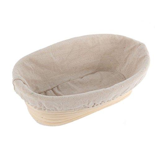 ESHOO Oval Banneton Brotform Rising Dough Bread Proofing Rattan Basket & Liner (Rattan Oval)
