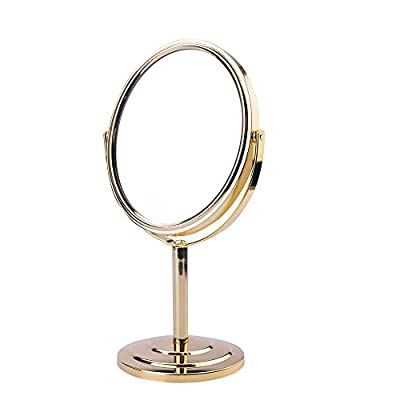 Makeup Mirror 1X/3X  Rotatable Double Side Vanity Mirror for Countertop Cosmetic Makeup Mirror - 🌸SUPERB VIEWING ANGLE: With an amazing 360° free rotation, our Makeup mirror can be easily positioned for a perfectly comfortable view. Let you enjoy a flawless makeup. 🌸PRECISE VIEWING: Our Makeup Mirror rotates 360 degrees for standard 1x viewing or 3x magnification and displays a clean reflection to make sure every detail of your hair and makeup in place. You can focus on specific sections for perfect makeup applications such as eyeliner, mascara & eyebrows. 🌸PREMIUM QUALITY: LAJOUR makeup mirror features a beautiful polished chrome to protects it against moisture & condensation. The screw is packed into the base of the mirror, so you need to take it out before installation. - bathroom-mirrors, bathroom-accessories, bathroom - 41UGxJO IeL. SS400  -