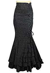 -Shimmery Night in London- Victorian Gothic Ruffle Steampunk Vintage Style Skirt (XL)