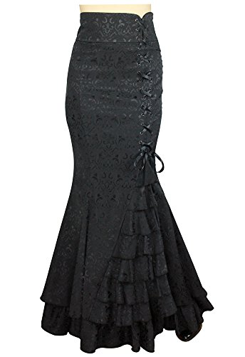 XS-P28-Shimmery-Night-in-London-Black-Victorian-Fishtail-Gothic-Vintage-Style-Skirt