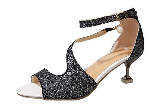 Sandales Ouverture GMBLB013502 AgooLar à Petite Boucle Correct Noir Talon Femme 7RR0x1p