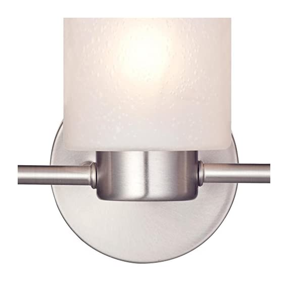 Westinghouse Lighting 6227900 Sylvestre Interior Wall Fixture, Brushed Nickel Finish with Frosted Seeded Glass, 3, Bn Three Light - Modern interior wall fixture with three lights Brushed nickel finish, frosted seeded glass 8-1/4 Inch high; 15-3/4 Inch wide; extends 6-1/4 Inch from wall - bathroom-lights, bathroom-fixtures-hardware, bathroom - 41UGxNcZpoL. SS570  -