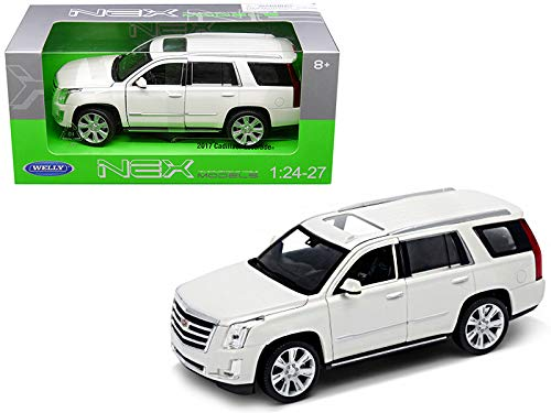 "Welly 1/24 Scale (7"") 2017 White Cadillac Escalade SUV Diecast Model Car"