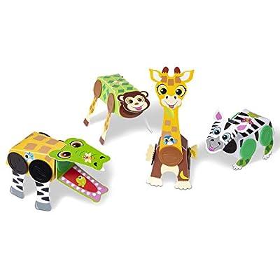 Melissa & Doug Snap It Safari Animals Beginner Craft Kit – Alligator, Zebra, Monkey, Giraffe (30190): Toys & Games
