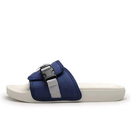 Toile Sandales Avec Mules foncé Tongs Bout Adulte Ouvert Insun Chaussures bleu IwXO1tf4q