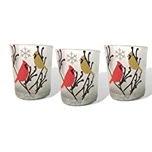 Cardinal Votive Holders - Set of 3 Frosted Glass Candle Holders - Cardinal Birds in a Winter Scene with Berries - 3 Flameless Tealight Candles Included