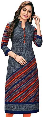 Jevi Prints Women's Unstitched Cotton Grey Stripe Print Kurta Fabric (Fabric only for Top) (Shagun-1737_Grey_Free Size)