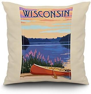 Wisconsin – Canoe and Lake 20×20 Spun Polyester Pillow, White Border