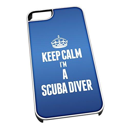 Bianco Cover per iPhone 5/5S 2673Blu con scritta Keep Calm I m a Scuba Diver