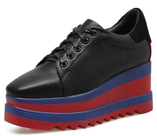 IDIFU Women's Casual Mid Wedge Heels Low Top Lace Up Platform Sneakers (Black, 4 B(M) US) by IDIFU