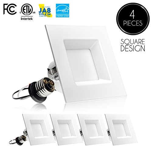 nch Dimmable LED Retrofit Recessed Downlight, 10W (60W Replacement), Square Trim, 5000K (Day Light), 630LM, ENERGY STAR & ETL, LED Ceiling Can Light Fixture (Square Recessed Downlight)
