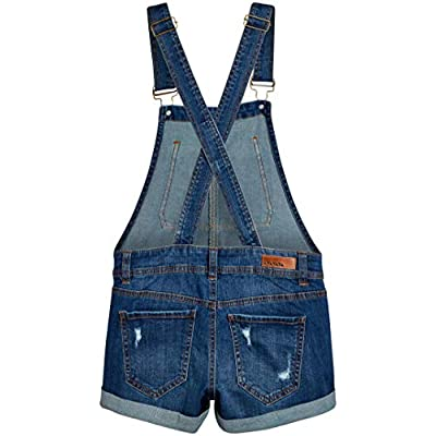 dollhouse Women's Ripped Denim Shortalls with Adjustable Straps: Clothing