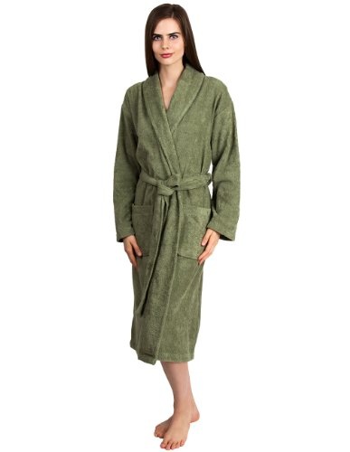 TowelSelections Women's Robe, Turkish Cotton Terry Shawl Bathrobe Small/Medium Moss