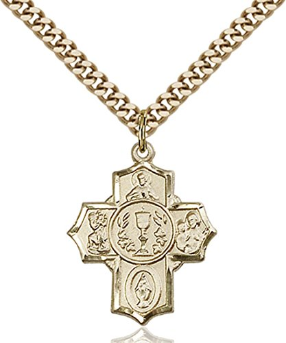14K Gold Filled First Communion Five-Way Medal Millennium Crucifix, 7/8 Inch (5 14kt Way Medal)