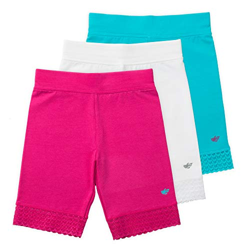 Lucky & Me | 3 Pack of Jada Little Girls Bike Shorts | Tagless | Super Soft Cotton with Lace Trim | Good Coverage ()