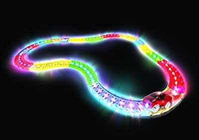 Mindscope LED Laser Twister Tracks 12 Feet of Light Up Flexible Track + 1 Light Up Race Car Each Individual Track Piece Contains Lights (Standard Color System) by Mindscope