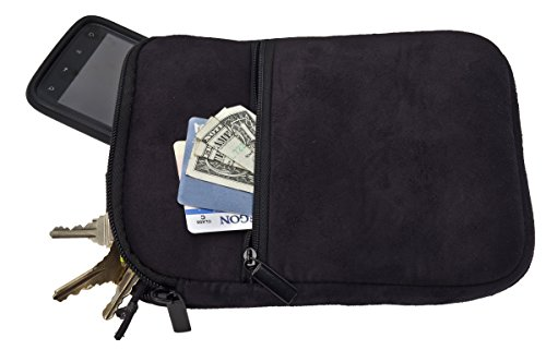 Premium Microfiber Suede Caddy Pouch for Valuables, Black