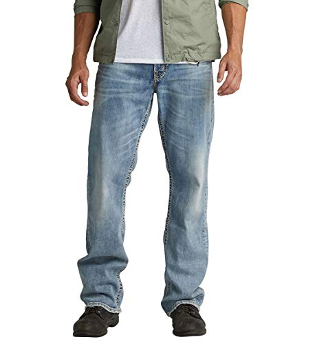 Silver Jeans Co. Men's Gordie Loose Fit Straight Leg Jeans, Comfort Stretch Light, 33W x 32L