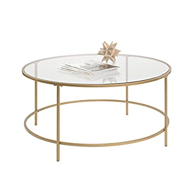 Sauder 417830 Int Lux Coffee Table Round, Glass / Gold Finish - Finished on all sides for versatile placement Safety-tempered glass top Metal construction - living-room-furniture, living-room, coffee-tables - 41UGzv9Z8FL. SS400  -