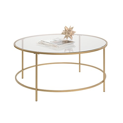 Sauder Int Lux Coffee Table Round, Glass / Gold Finish