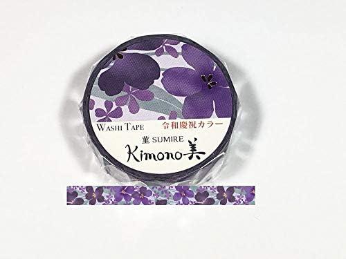 Kamiiso – Kimono Masking Tape – Washi Tape (15mm) Foil Stamping – Violet – for Scrapbooking Art Craft DIY Photo Album Decoration