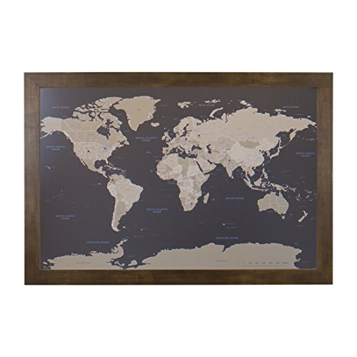 Earth Toned World Push Pin Travel Map with Rustic Brown Frame and Pins 24 x 36 Review