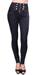 82003b6b738f Ci Sono C est TOI Jeans USA Women High Rise Skinny Jegging with 6 Front  Button