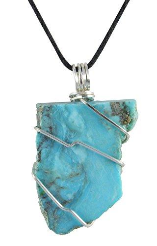Kingman Turquoise Pendant, Stabilized, 1 3/4