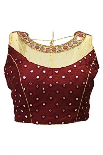 Krishna sarees Women's Maroon Ready Made Designer Saree Blouse Bust Size 38 Inches Maroon (Ready Made Designer Saree Blouses compare prices)