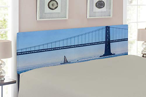 Ambesonne Sailboat Headboard for Queen Size Bed, San Francisco Bay Bridge Sailboat from Pier 7 in California USA Landmark Photo Print, Upholstered Decorative Metal Headboard with Memory Foam, Blue