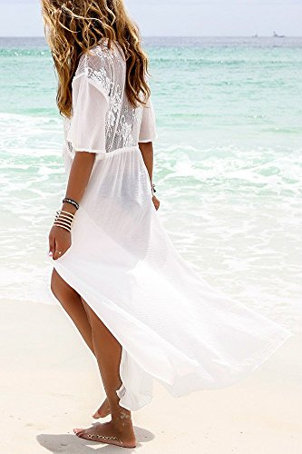 5bd3d460589 Jeasona Women's Chiffon Lace Kimono Maxi Bikini Swimsuit Bathing Suit Cover  up (White)