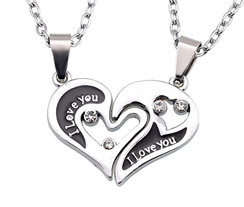 [THOBAL 1 pair Silver Alloy lovers pendant couple relationship necklace puzzle necklace for couples] (Matching His And Her Costumes)