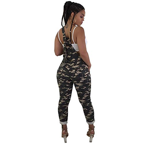 Bravetoshop Women Camouflage Loose Jumpsuit Camo Cargo Pant Casual Strap Long Romper(Green, XL)