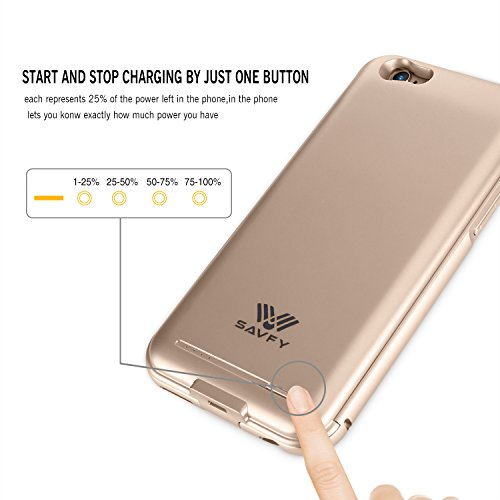Funda Cargador iphone 6 / 6s, SAVFY® 2200mAh Certificado MFi de Apple Funda Carcasa Con Batería Cargador-batería para iphone 6 / 6s Oro Oro
