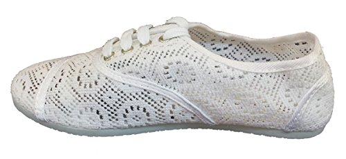 Womens Up Shoes Classic Flat Crochet White Lace Elegant BvnFxZwqCZ