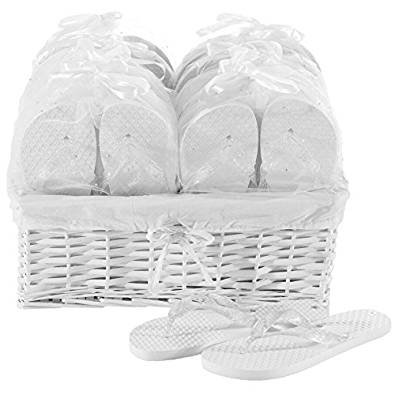 7ca8d04b3 Zohula White Wedding Premier Party Pack - 20 Pairs Flip Flops Mixed Sizes  Sx3 Mx12 Lx5 - Including Basket  Amazon.co.uk  Shoes   Bags