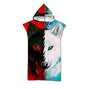Sticker Superb Towel Hooded Poncho 3D Wolf Pattern, Large Microfiber Turnover Robe Bathing Blanket with Hood for Surfing…