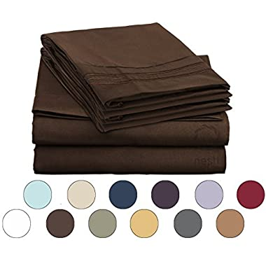 Bed Sheet Bedding Set, 100% Soft Brushed Microfiber with Deep Pocket Fitted Sheet - CAL KING - CHOCOLATE BROWN - 1800 Luxury Bedding Collection, Hypoallergenic & Wrinkle Free Bedroom Linen Set
