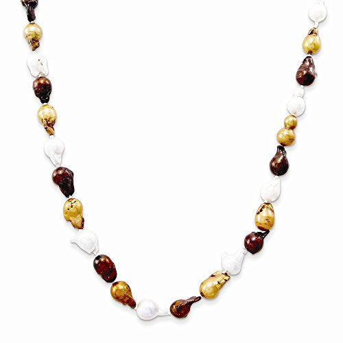 - Jewelry Necklaces Pearls White/Bronze/Chocolate 10-10.5mm Baroque FW Cultured Pearl Necklace