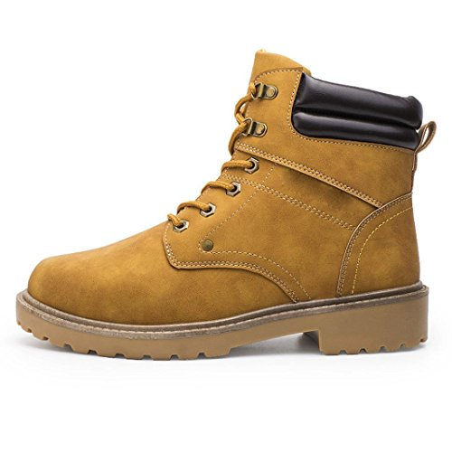 Men Low Ankle Trim Flat Ankle Leather Rubber sole short Boots Martin Shoes Casual Winter Autumn Yellow JWKH4n