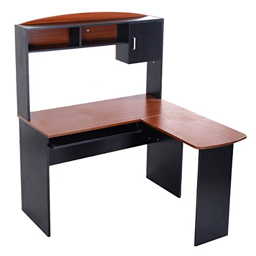 Cheap Tangkula L Shaped Desk Corner Desk Home Office Workstation Space Saving Computer Desk with Spacious Wooden Surface, Sliding Keyboard Tray, Storage Shelves and Cabinet(Black & Brown)